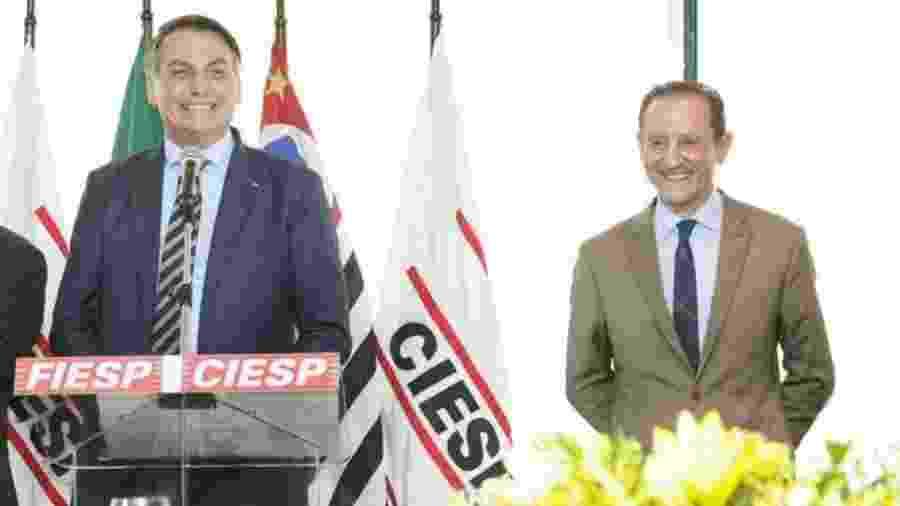 Presidente Jair Bolsonaro com presidente da Fiesp, Paulo Skaf, em São Paulo - Fiesp/Divulgação