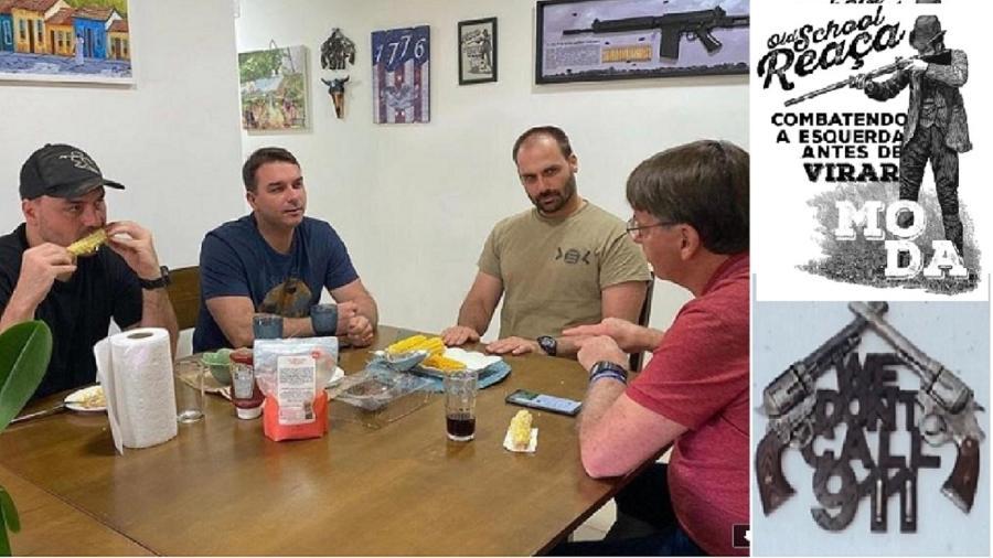 Jair, Eduardo, Flávio e Carlos Bolsonaro comem milho; ao fundo, parede que faz apologia das armas - Reprodução/Redes socias