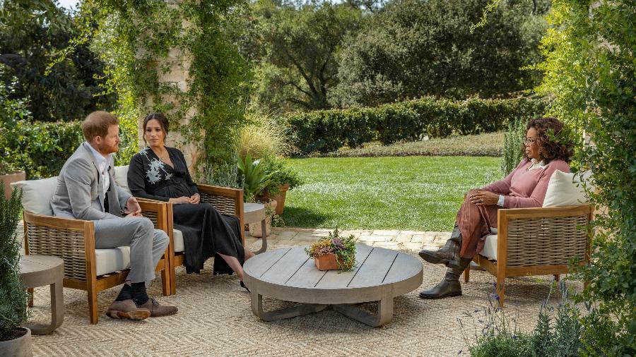 07.mar.21 - Meghan Markle e Harry em entrevista a Oprah Winfrey - Handout/Harpo Productions/Joe Pugliese v
