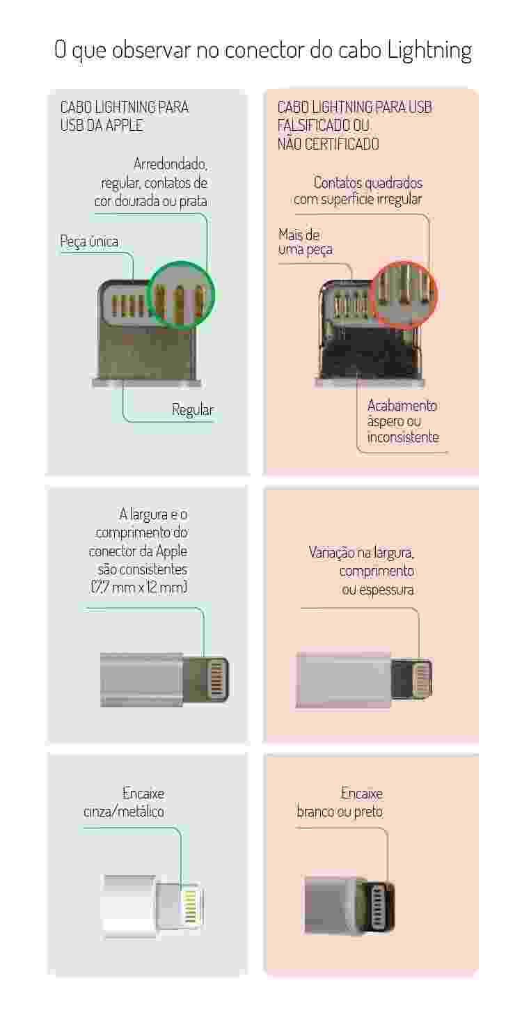O que observar no conector do cabo Lightning - Arte/UOL - Arte/UOL