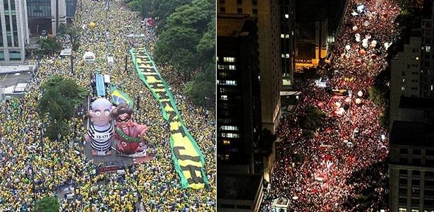 Manifestações contra e a favor do governo lotaram a avenida Paulista nos dias 13 e 18 de março
