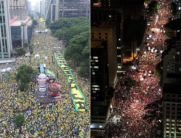 Manifestações contra e a favor do governo lotaram a avenida Paulista nos dias 13 e 18