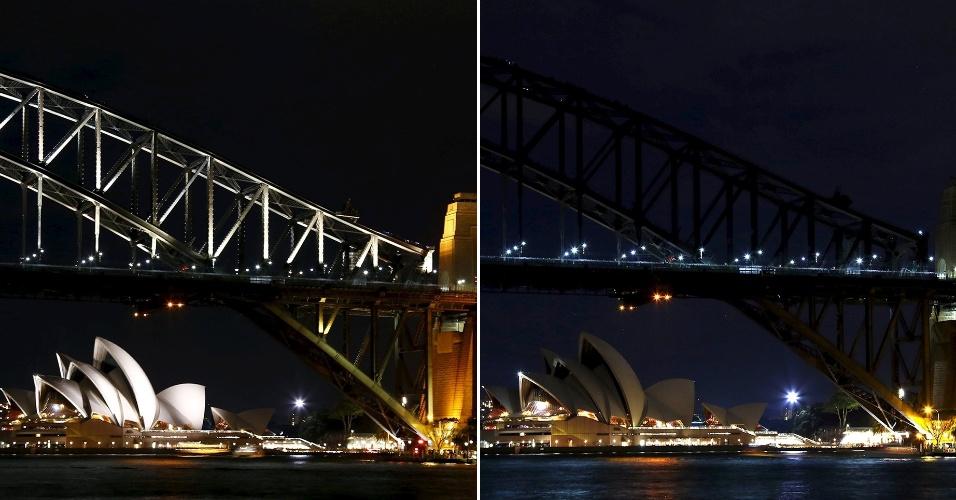 19.mar.2016 - O Sydney Opera House e a ponte da Baía de Sydney participaram da 10ª edição da Hora do Planeja na Austrália. A ação da organização WWF foi realizada em mais de 150 países