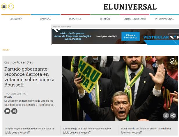 """O venezuelano """"El Universal"""" destaca a manchete: """"Partido governante reconhece derrota em votação sobre impeachment de Rousseff"""""""