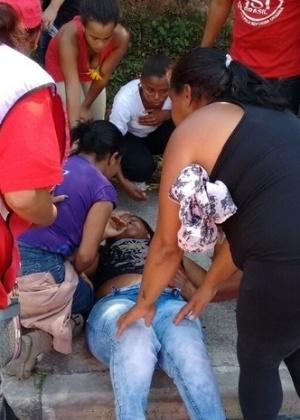 Edilma Aparecida Vieira dos Santos, do MTST, foi baleada durante passeata do grupo em direção à Prefeitura Municipal de Itapecerica da Serra, na Grande São Paulo