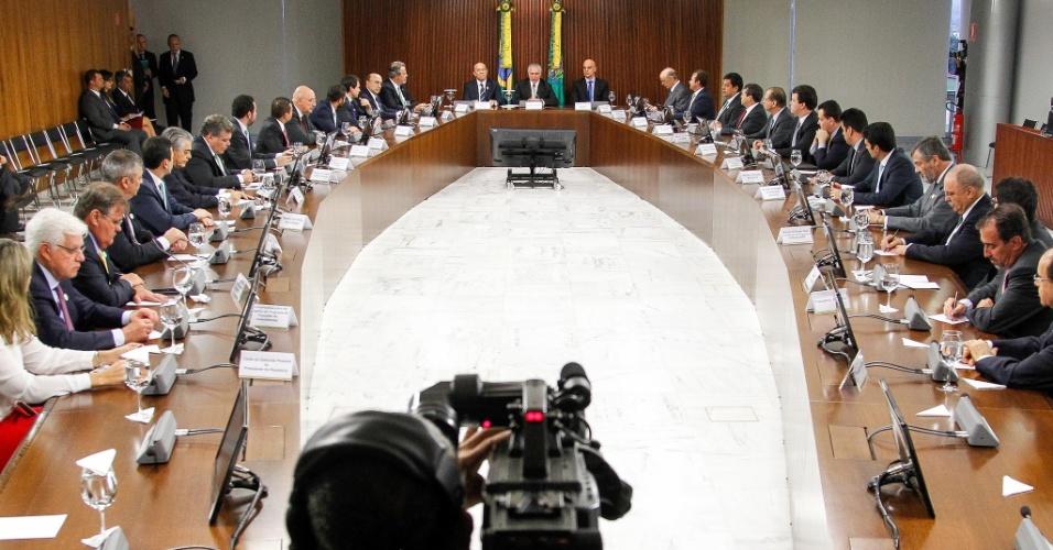 31.ago.2016 - Michel Temer realiza primeira reunião ministerial após ser efetivado presidente da República, no Palácio do Planalto, em Brasília