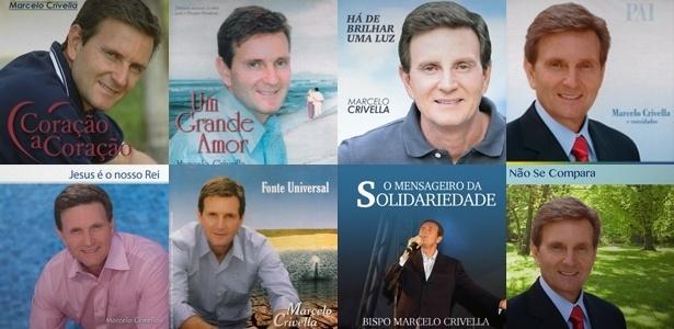 Capas de CDs do bispo licenciado da Igreja Universal do Reino de Deus Marcelo Crivella