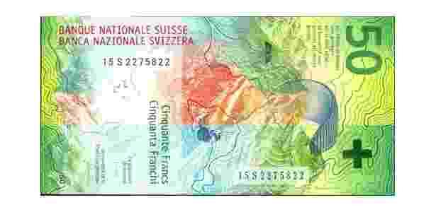 Oscar da Moeda: nota de 50 francos suíços - Divulgação/International Bank Note Society