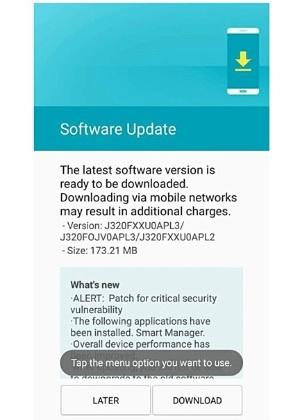Aviso em celular J3 da Samsung sobre vulnerabilidade grave de segurança