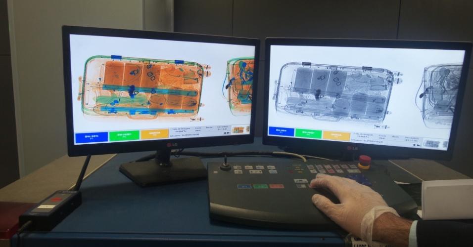 Detecção de raio-x realizada no aeroporto de guarulho para determinar a presença de substâncias orgânicas