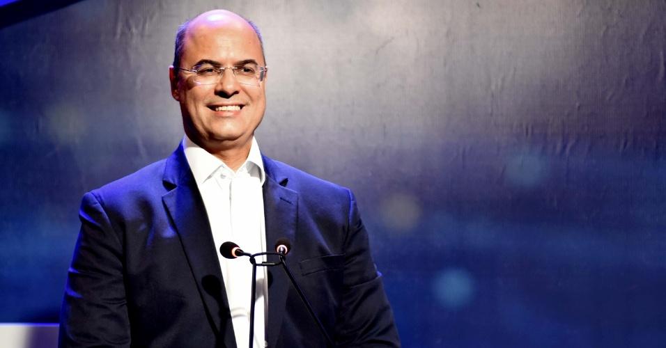 18.out.2018 - O candidato Wilson Witzel durante o debate entre candidatos a governadores na TV Band no Rio de Janeiro (RJ), nesta quinta-feira (18)