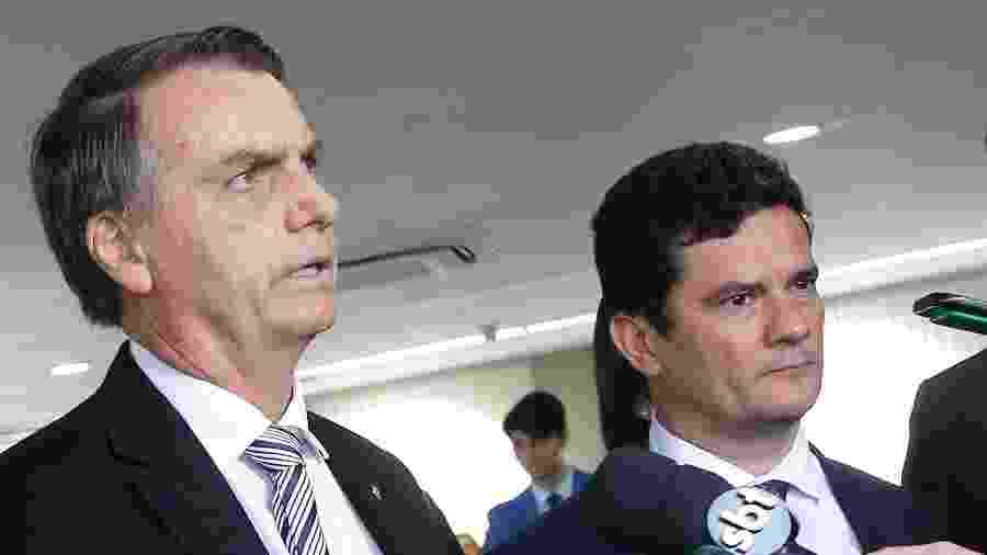 O presidente da República, Jair Bolsonaro, e o ministro da Justiça, Sergio Moro, em foto de arquivo - Dida Sampaio/Estadão Conteúdo