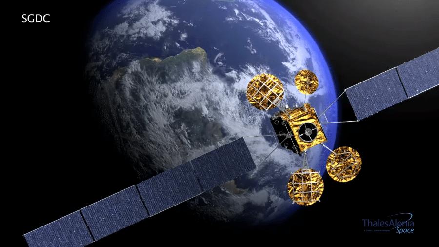 Satélite Geoestacionário de Defesa e Comunicações (SGDC), lançado pela Telebras - Reprodução/Thales Alenia Space