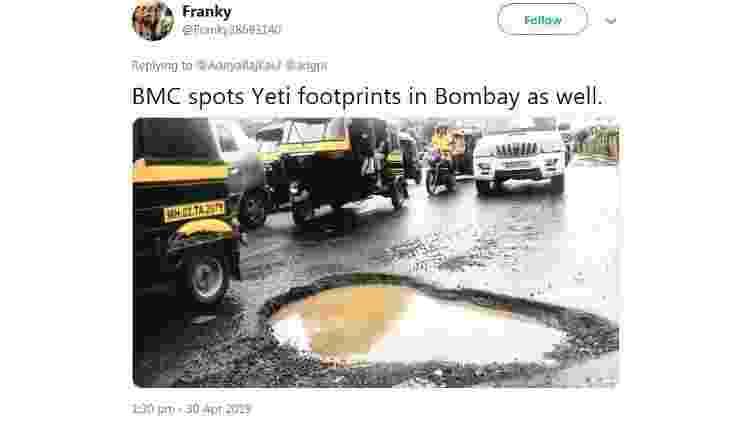 'Prefeitura também achou pegadas do Yeti em Bombai' - Twitter/Reprodução