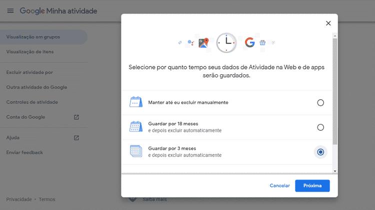 Autodestruição de histórico do Google 5 - Reprodução - Reprodução