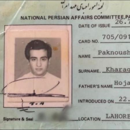 """Paknoosh aos 17 anos, em carteira de identidade da religião Bahá""""í - registrada com a grafia do seu nome em inglês - Arquivo pessoal"""