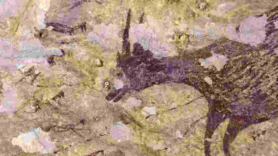 Pintura ruprestre de 44 mil anos é encontra na Indonésia com representação de teriantropos - AFP PHOTO/RATNO SARDI/GRIFFITH UNIVERSITY