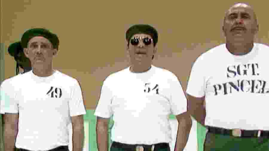 Renato Aragão, Dedé Santana  e Roberto Guilherme, em cena de Os Trapalhões - Reprodução YouTube