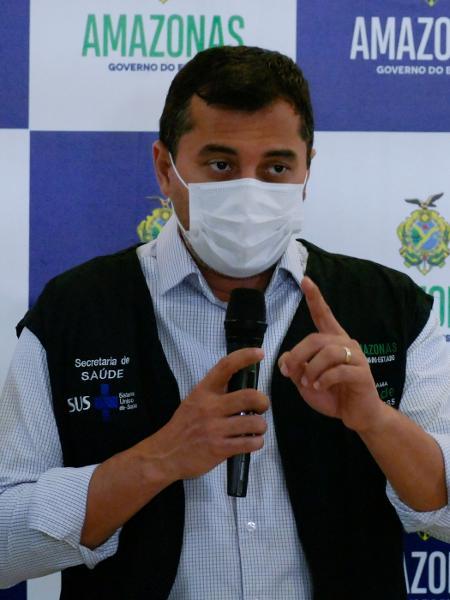 27.jan.2021 - O governador do Amazonas, Wilson Lima (PSC), durante coletiva em Manaus - Sandro Pereira/Fotoarena/Estadão Conteúdo