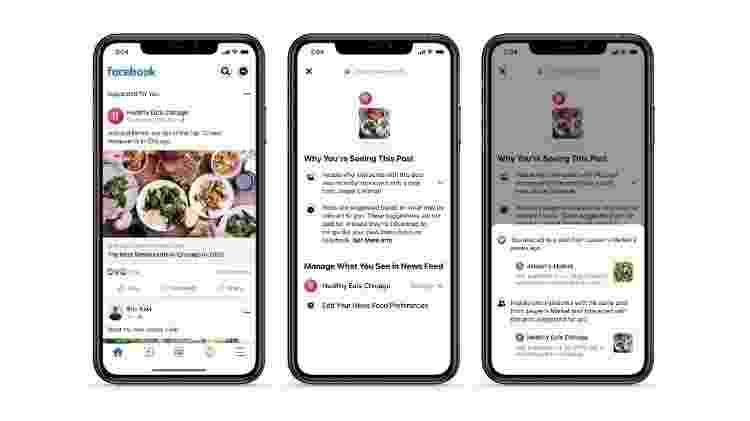 Facebook - novidades no feed - Por que estou vendo isso? - Divulgação/Facebook - Divulgação/Facebook
