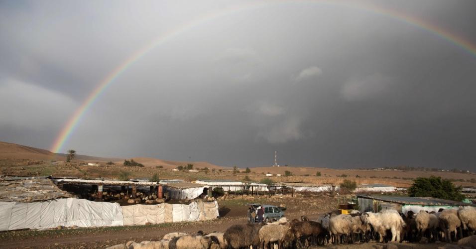 24.jan.2016 - Arco-íris se espalha pelo céu de Al-Auja, nos arredores da aldeia do Vale do Jordão, na Cisjordânia