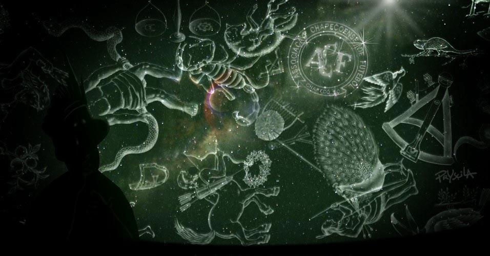 30.nov.2016 - Chape vira uma constelação no céu do índio Condá, guerreiro do povo Kaingang, que habitou a região do oeste catarinense. O indiozinho é o mascote do clube