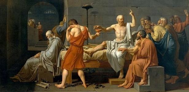 O quadro do pintor francês Jacques Louis David retrata os últimos momentos de Sócrates, tranquilo, pronto a beber a cicuta (um veneno), consolando os amigos que choravam por ele
