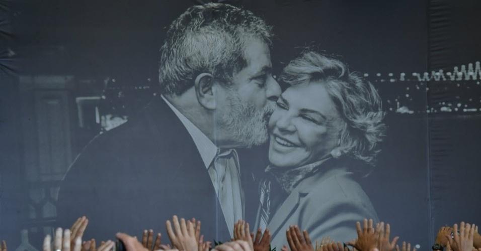 4.fev.2017 -- Público participa de ato ecumênico durante velório de Marisa Letícia, em São Bernardo do Campo (SP)