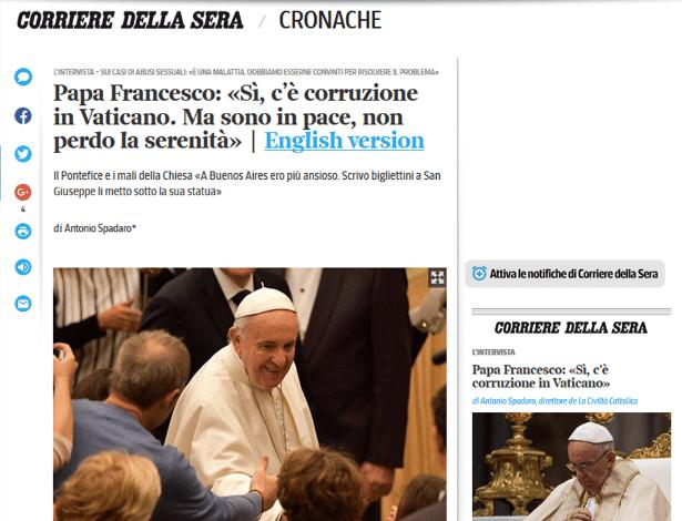 Reportagem do jornal italiano Corriere della Sera publicada nesta quinta-feira