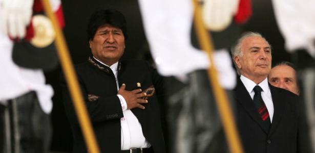 Cerimônia oficial de chegada do presidente da Bolívia, Evo Morales, no Palácio do Planalto, com a presença do presidente Michel Temer