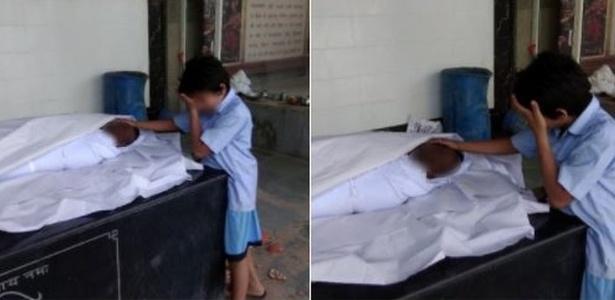 17.set.2018 - Foto de menino de 11 anos chorando junto ao corpo do pai foi compartilhada milhares de vezes no Twitter - Twitter