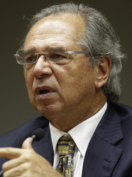 O ministro da Economia, Paulo Guedes, durante entrevista coletiva em Brasília - Lucio Tavora/Xinhua