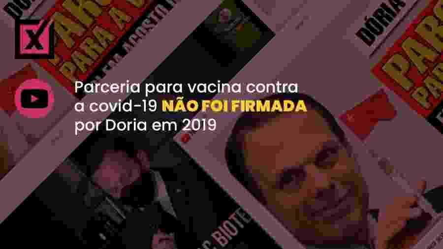 Vídeo distorce declarações do governador de São Paulo, João Doria, em entrevista - Arte/Comprova