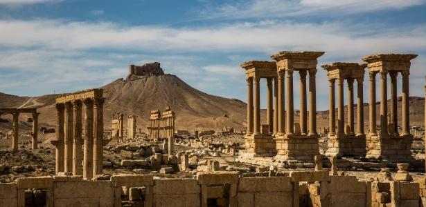 A citadela de Palmira, que foi danificada durante a ocupação do Estado Islâmico