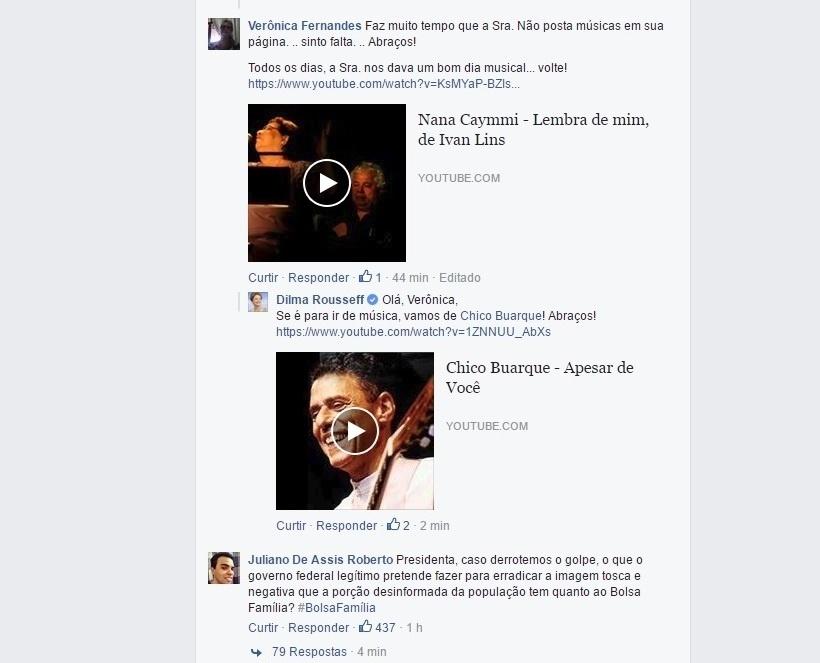 18.mai.2016 - A presidente afastada Dilma Rousseff responde em sua página no Facebook a comentário de internauta com vídeo da música