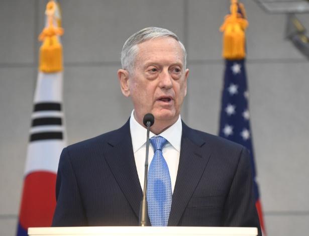 Secretário americano da Defesa, James Mattis, em seu discurso na Coreia do Sul