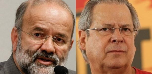 O ex-tesoureiro do PT João Vaccari Neto (esquerda) e o ex-ministro José Dirceu