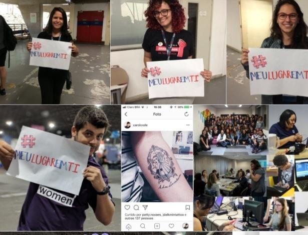 Pessoas postam fotos no Twitter com a hashtag de protesto #MeuLugarEmTI