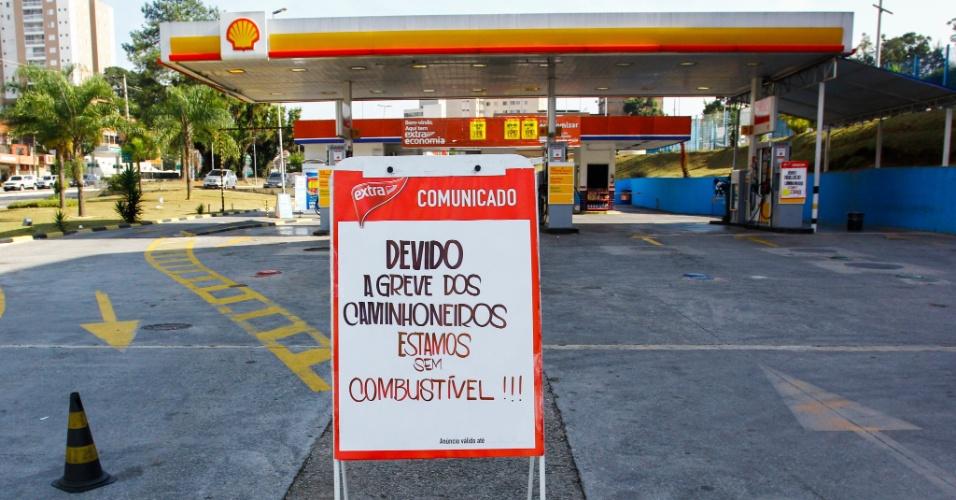 Posto na zona oeste de São Paulo fecha por falta de combustível, na manhã desta quinta-feira (24), devido ao não abastecimento por conta da paralisação dos caminhoneiros, contra a alta no diesel