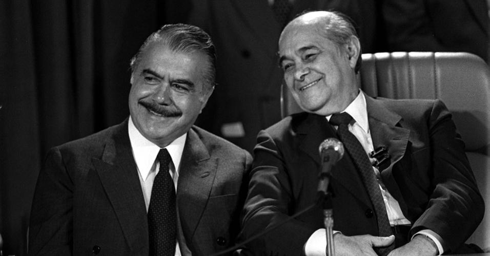 Tancredo Neves e Jose Sarney durante entrevista coletiva em 1985