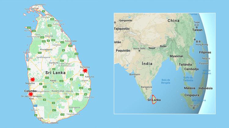 Mapa Sri Lanka 2 - Arte / UOL - Arte / UOL