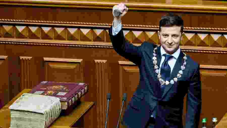 20.mai.2019 - O presidente eleito da Ucrânia Volodimir Zelenski durante a cerimônia de posse - Vladyslav Musiienko/Ukrainian Governmental Press Service/Reuters