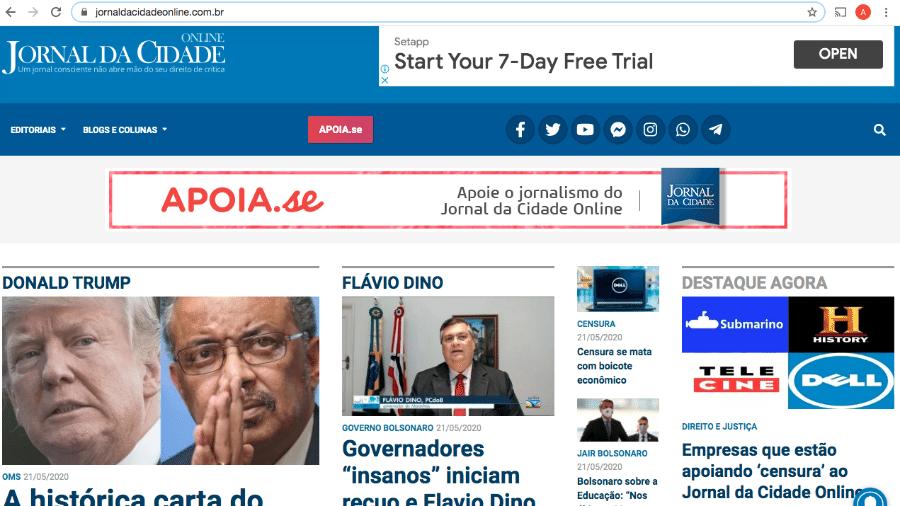 21.ma.2020 - Site de fake news que apoia governo Bolsonaro perdeu anunciantes após campanha online - Reprodução