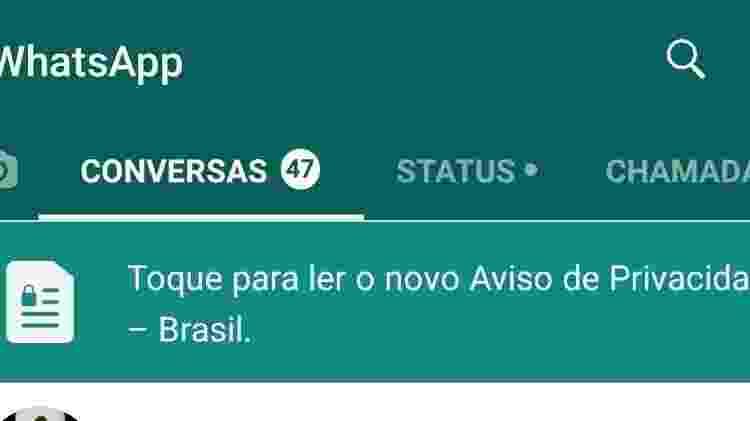 Aviso de privacidade do WhatsApp referente à LGPD - Reprodução - Reprodução