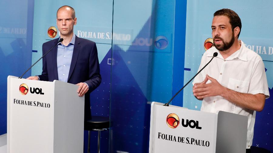 Candidatos à prefeitura de São Paulo (da esq. para dir.) Bruno Covas (PSDB) e Guilherme Boulos (PSOL)  participam de debate promovido pelo UOL e Folha de S. Paulo - Mariana Pekin/UOL