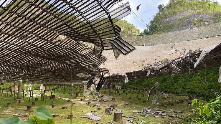 Dano causado por cabo danificado em agosto de 2020 no telescópio de Arecibo, em Porto Rico - UCF Today - UCF Today