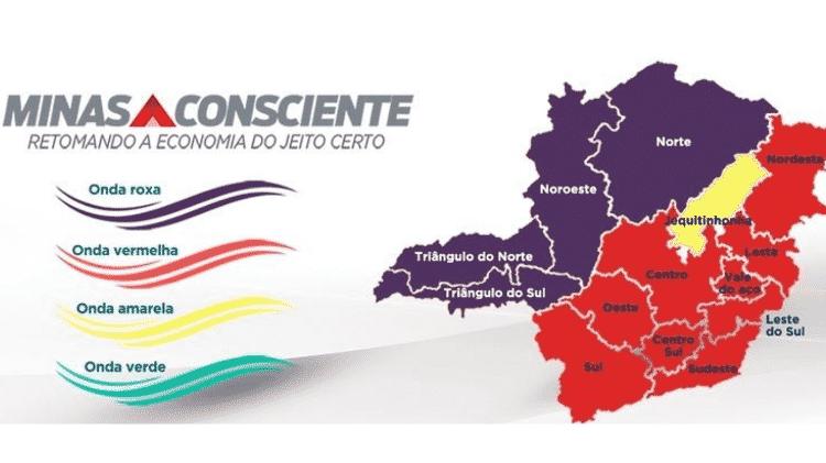 11.mar.2021 - Regões de Minas Gerais entraram na fase roxa - Divulgação/Governo de Minas Gerais - Divulgação/Governo de Minas Gerais