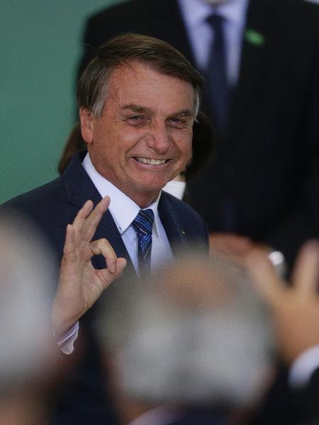 23.fev.2021 - O presidente Jair Bolsonaro (sem partido) durante solenidade da Agenda Prefeito + Brasil, no Palácio do Planalto - Dida Sampaio/Estadão Conteúdo