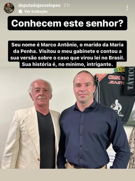 Deputado Jessé Lopes (PSL-SC) recebeu agressor de Maria da Penha - Reprodução