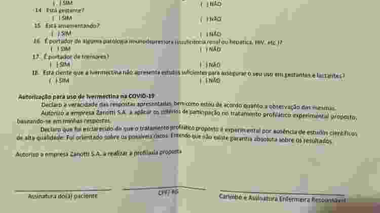 Formulário recebido por funcionários da Zanotti obtido pela BBC News Brasil - BBC - BBC